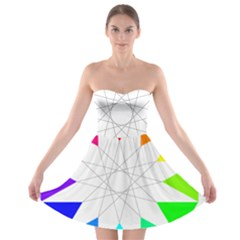 Rainbow Dodecagon And Black Dodecagram Strapless Bra Top Dress