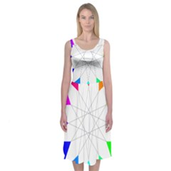 Rainbow Dodecagon And Black Dodecagram Midi Sleeveless Dress