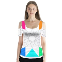 Rainbow Dodecagon And Black Dodecagram Butterfly Sleeve Cutout Tee