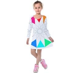 Rainbow Dodecagon And Black Dodecagram Kids  Long Sleeve Velvet Dress