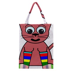 Cartoon Cat In Rainbow Socks Classic Tote Bag