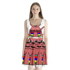 Cartoon Cat In Rainbow Socks Split Back Mini Dress