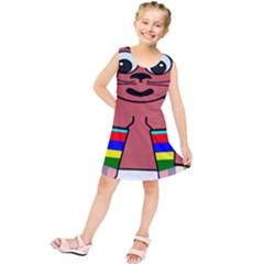 Cartoon Cat In Rainbow Socks Kids  Tunic Dress