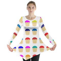 Colorful Cupcakes Pattern Long Sleeve Tunic