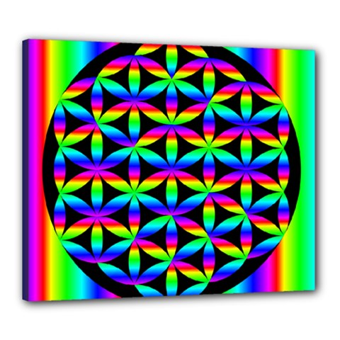 Rainbow Flower Of Life In Black Circle Canvas 24  X 20