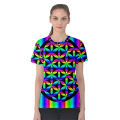 Rainbow Flower Of Life In Black Circle Women s Cotton Tee