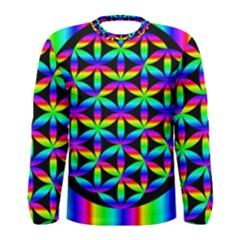 Rainbow Flower Of Life In Black Circle Men s Long Sleeve Tee