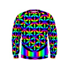 Rainbow Flower Of Life In Black Circle Kids  Sweatshirt