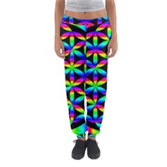 Rainbow Flower Of Life In Black Circle Women s Jogger Sweatpants