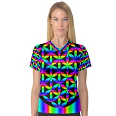 Rainbow Flower Of Life In Black Circle Women s V Neck Sport Mesh Tee