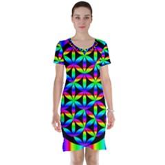 Rainbow Flower Of Life In Black Circle Short Sleeve Nightdress