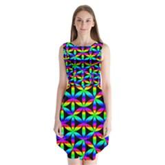 Rainbow Flower Of Life In Black Circle Sleeveless Chiffon Dress