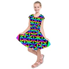 Rainbow Flower Of Life In Black Circle Kids  Short Sleeve Dress