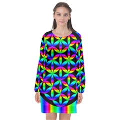 Rainbow Flower Of Life In Black Circle Long Sleeve Chiffon Shift Dress  by Nexatart