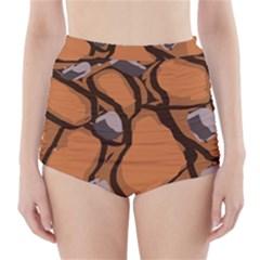 Seamless Dirt Texture High Waisted Bikini Bottoms