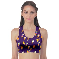 Seamless Ice Cream Pattern Sports Bra