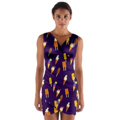 Seamless Ice Cream Pattern Wrap Front Bodycon Dress