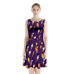 Seamless Ice Cream Pattern Sleeveless Waist Tie Chiffon Dress