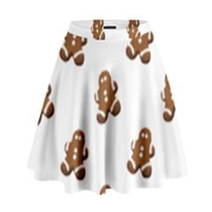 Gingerbread Seamless Pattern High Waist Skirt