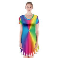 Rainbow Seal Re Imagined Short Sleeve V Neck Flare Dress by Nexatart