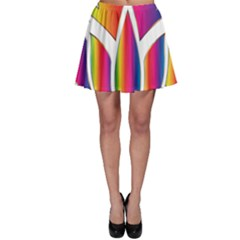 Rainbow Lotus Flower Silhouette Skater Skirt