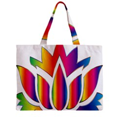 Rainbow Lotus Flower Silhouette Zipper Mini Tote Bag by Nexatart