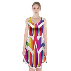 Rainbow Lotus Flower Silhouette Racerback Midi Dress