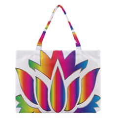 Rainbow Lotus Flower Silhouette Medium Tote Bag by Nexatart