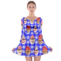 Cake Pattern Long Sleeve Skater Dress