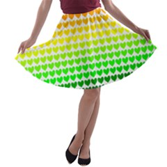 Rainbow Love A Line Skater Skirt