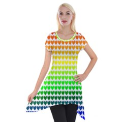 Rainbow Love Short Sleeve Side Drop Tunic