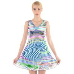 Prismatic Fingerprint V Neck Sleeveless Skater Dress