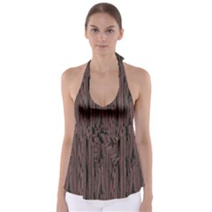 Grain Woody Texture Seamless Pattern Babydoll Tankini Top