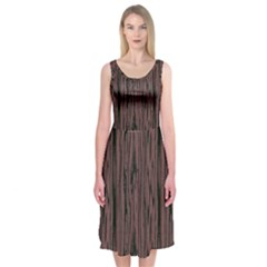 Grain Woody Texture Seamless Pattern Midi Sleeveless Dress