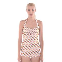 Candy Corn Seamless Pattern Boyleg Halter Swimsuit  by Nexatart