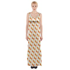Candy Corn Seamless Pattern Maxi Thigh Split Dress