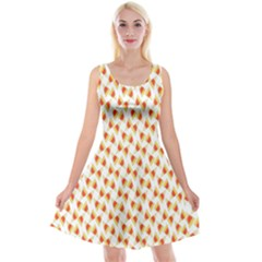 Candy Corn Seamless Pattern Reversible Velvet Sleeveless Dress
