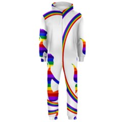 Rainbow Fairy Relaxing On The Rainbow Crescent Moon Hooded Jumpsuit (men)
