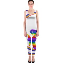 Rainbow Fairy Relaxing On The Rainbow Crescent Moon Onepiece Catsuit