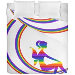 Rainbow Fairy Relaxing On The Rainbow Crescent Moon Duvet Cover Double Side (california King Size)