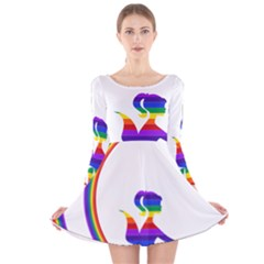 Rainbow Fairy Relaxing On The Rainbow Crescent Moon Long Sleeve Velvet Skater Dress