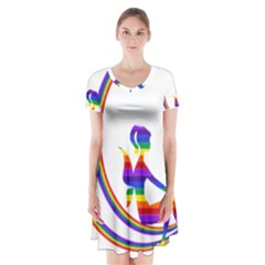Rainbow Fairy Relaxing On The Rainbow Crescent Moon Short Sleeve V Neck Flare Dress