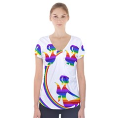 Rainbow Fairy Relaxing On The Rainbow Crescent Moon Short Sleeve Front Detail Top by Nexatart