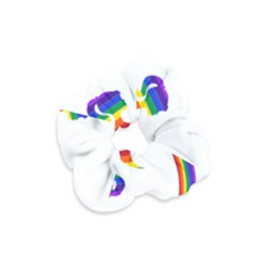 Rainbow Fairy Relaxing On The Rainbow Crescent Moon Velvet Scrunchie