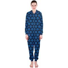 Blue Dark Navy Cobalt Royal Tardis Honeycomb Hexagon Hooded Jumpsuit (ladies)  by Mariart
