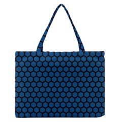 Blue Dark Navy Cobalt Royal Tardis Honeycomb Hexagon Medium Zipper Tote Bag by Mariart