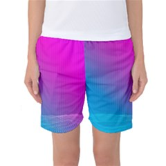 With Wireframe Terrain Modeling Fabric Wave Chevron Waves Pink Blue Women s Basketball Shorts