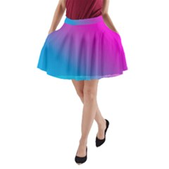With Wireframe Terrain Modeling Fabric Wave Chevron Waves Pink Blue A Line Pocket Skirt by Mariart