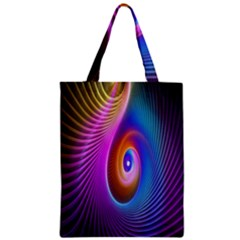 Abstract Fractal Bright Hole Wave Chevron Gold Purple Blue Green Zipper Classic Tote Bag by Mariart