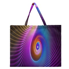 Abstract Fractal Bright Hole Wave Chevron Gold Purple Blue Green Zipper Large Tote Bag by Mariart
